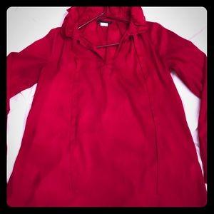 Red Long Sleeve ruffled collar